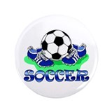 "Soccer (Blue) 3.5"" Button"