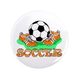 "Soccer (Orange) 3.5"" Button"