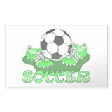 Soccer (Green) Rectangle Bumper Stickers