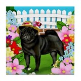 PUG DOG GARDEN Tile Coaster