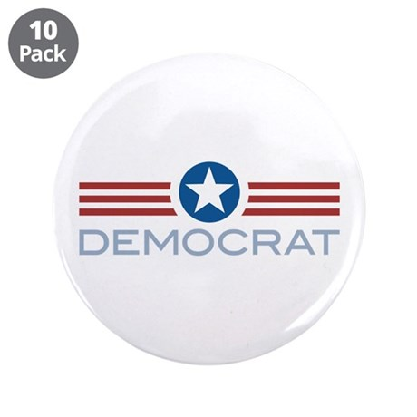 "Star Stripes Democrat 3.5"" Button (10 pack)"