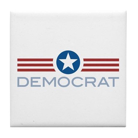 Star Stripes Democrat Tile Coaster