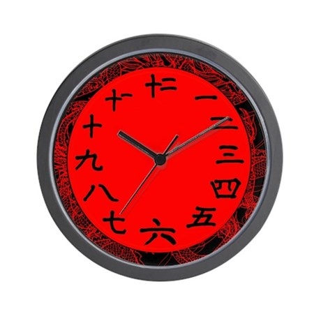 Chinese Numbers on a Red Wall Clock