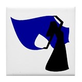 Dark Blue Veil Dancer Tile Coaster