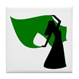 Green Veil Dancer Tile Coaster