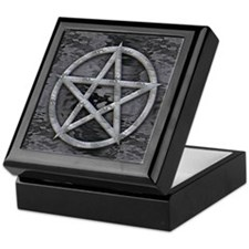 Dark Liquid Silver Men's Pentagram Keepsake Box