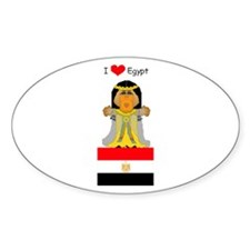 I Love Egypt Oval Decal