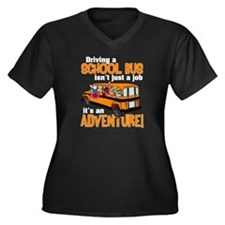 Driving a School Bus Women's Plus Size V-Neck Dark