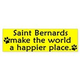 Happy Place Saint Bernard Bumper Car Sticker