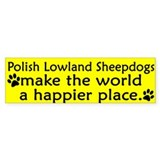 Happy Place Polish Lowland Sheepdog Bumper Bumper Sticker