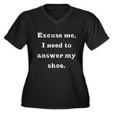Excuse me Dark Women's Plus Size V-Neck Dark T-Shi