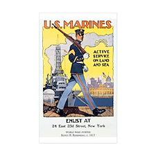 WWI U.S. Marines Rectangle Sticker 10 pk)