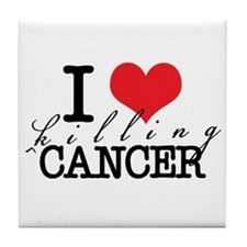 i heart killing cancer Tile Coaster