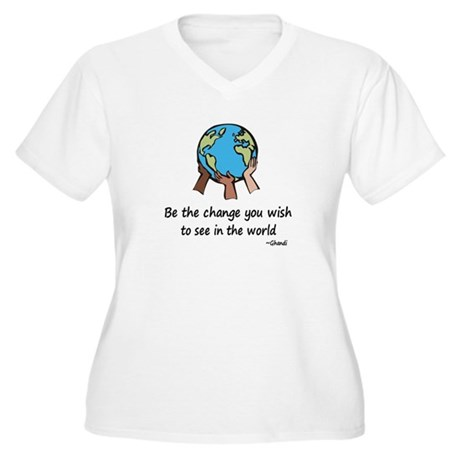 Be the Change Women's Plus Size V-Neck T-Shirt