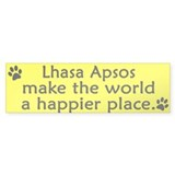 Happy Place Lhasa Apso Bumper Car Sticker