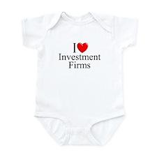 """I Love (Heart) Investment Firms"" Infant Bodysuit"