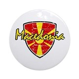 Macedonia distressed Flag Ornament (Round)