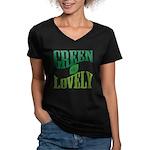 Earth Day : Green & Lovely Women's V-Neck Dark T-S