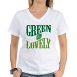 Earth Day : Green & Lovely Women's V-Neck T-Shirt