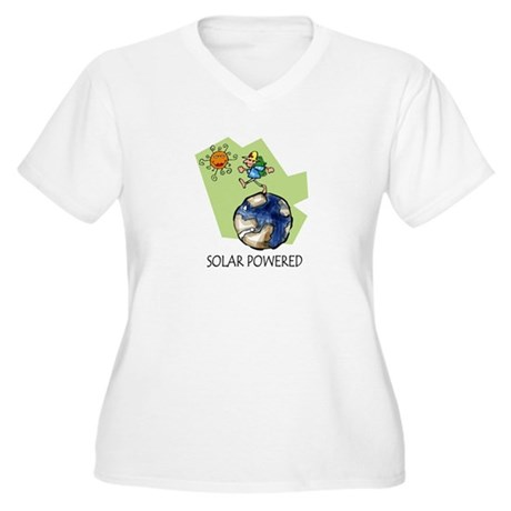 Solar Powered Women's Plus Size V-Neck T-Shirt