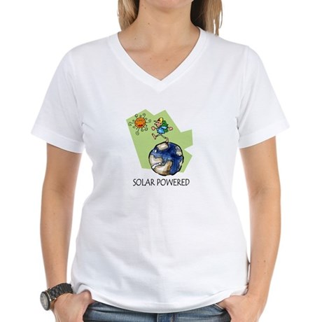 Solar Powered Women's V-Neck T-Shirt