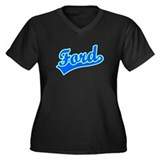 Retro Ford (Blue) Women's Plus Size V-Neck Dark T-