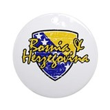 Bosnia Herzegovina distressed Flag Ornament (Round