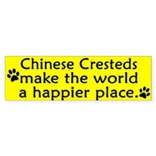 Happy Place Chinese Crested Bumper Bumper Sticker