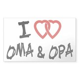 I Love Oma and Opa Rectangle Sticker 10 pk)