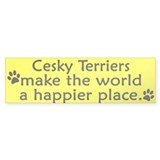 Happy Place Cesky Terrier Bumper Bumper Sticker