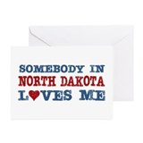 Somebody in North Dakota Loves Me Greeting Cards (
