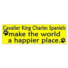 Happy Place Cavalier Spaniel Bumper Bumper Sticker