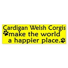 Happy Place Cardigan Welsh Corgi Bumper Bumper Sticker