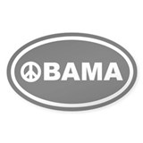 Obama Peace Black Euro Oval Decal