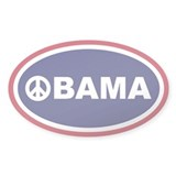Obama Peace Red White Blue Euro Oval Decal