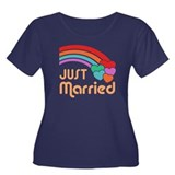 Just Married Women's Plus Size Scoop Neck Dark T-S