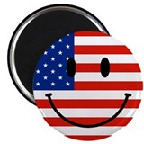 Patriotic Smiley Face 2.25&quot; Magnet (100 pack)