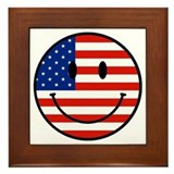 Patriotic Smiley Face Framed Tile