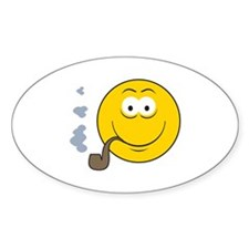 Pipe Smoking Smiley Face Oval Decal