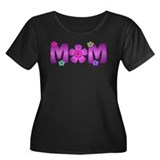 Flower Mom Women's Plus Size Scoop Neck Dark T-Shi