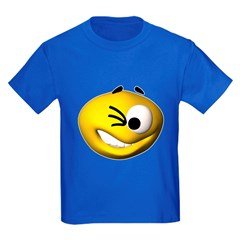 Goofy Winking Face Kids Dark T-Shirt