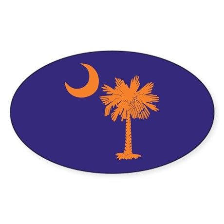 Orange and Purple SC Flag Oval Sticker (50 pk)