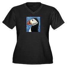 Cute Puffins Women's Plus Size V-Neck Dark T-Shirt