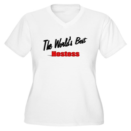 """The World's Best Hostess"" Women's Plus Size V-Nec"