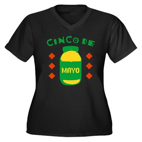 Cinco De Mayo Womens Plus Size V-Neck Dark T-Shir