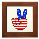PATRIOTIC PEACE SYMBOL Framed Tile