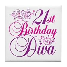 21st Birthday Diva Tile Coaster
