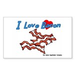 I Love Bacon Rectangle Sticker