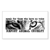 Report Animal Cruelty Cat Rectangle Sticker 50 pk