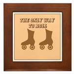 Brown Roller Skates Framed Tile